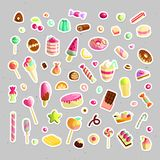 Słodki kreskówka cukierku set Kolekcja cukierki, kreskówka styl Galareta, cukierek, torty, słodki pączek i marmolada, Ogromny set ilustracja wektor