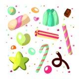 Słodki kreskówka cukierku set Kolekcja cukierki, kreskówka styl Galareta, cukierek, torty, słodki pączek i marmolada, Ogromny set ilustracji