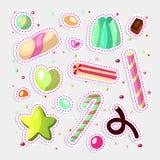 Słodki kreskówka cukierku set Kolekcja cukierki, kreskówka styl Galareta, cukierek, torty, słodki pączek i marmolada, Ogromny set royalty ilustracja