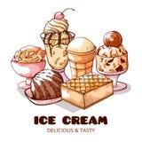 Słodki lody plakata, wyśmienicie i smakowitego set, ilustracja wektor
