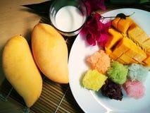słodki mango z kolorowymi kleistymi ryż i kokosowy mleko zbliżamy Obraz Royalty Free