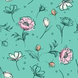 Słodki pastelowy botaniczny kwiat ręki muśnięcia uderzeń linii nakreślenie s ilustracji