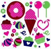 Kolorowi wzorzyści Muffins ustawiający Obraz Stock