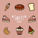 Słodki yummy set royalty ilustracja