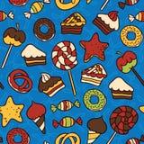 Słodkich karmowych ikon bezszwowy wzór Zdjęcie Royalty Free