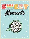 Słodkich momentów kakaowa gorąca czekolada z marshmallow smakowitą pocztówką Ślicznej kreskówki plakatowy projekt royalty ilustracja