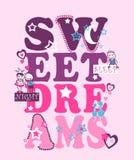 Słodkich sen typografia, dzieciak koszulki druk royalty ilustracja