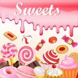 Słodkie deserowe jedzenie ramy tła glazerunku plamy Różowi cukierki, royalty ilustracja