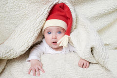 słodkie dziecko kapelusz Mikołaja zdjęcia stock