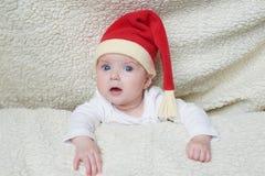 słodkie dziecko kapelusz Mikołaja fotografia royalty free