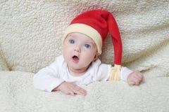 słodkie dziecko kapelusz Mikołaja zdjęcia royalty free