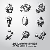 Słodkie handdrawn ikony ustawiać z - babeczką, pączek Obrazy Stock