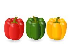 Słodkiego pieprzu 3 koloru czerwień, kolor żółty, zieleń, Wektorowa ilustracja Zdjęcia Royalty Free