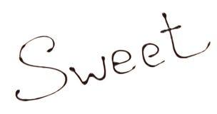 Słodkiej inskrypci rozciekła czekolada Zdjęcie Stock