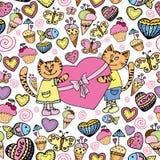 Słodkiej kot miłości bezszwowy wzór Obrazy Stock