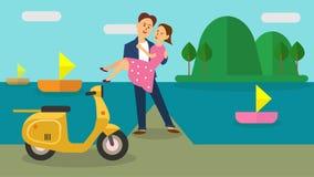 Słodkiej miłości kobiety i mężczyzna romantyczny wektor ilustracji