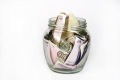 słoika oszczędzania pieniędzy obrazy royalty free