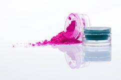 słojów makeup proszek fotografia stock