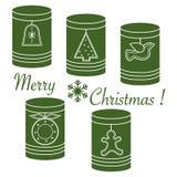 Słoje z bożych narodzeń i nowego roku etykietkami: Ñ  hristmas drzewa, dzwon, bi royalty ilustracja