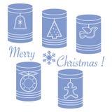 Słoje z bożych narodzeń i nowego roku etykietkami: Ñ  hristmas drzewa, dzwon, bi ilustracja wektor