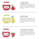 Słoje z owocowym dżemem w różnych kolorach Fotografia Stock
