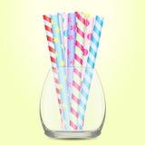 Słoma pije szklaną filiżankę Obraz Royalty Free
