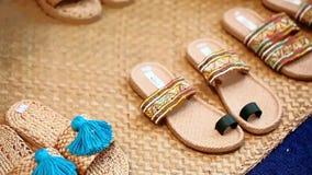 Słomiani handmade plażowi sandały zdjęcie wideo