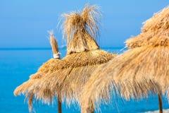 Słomiani parasolowi kapelusze Zdjęcia Stock