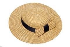 Słomiany kapelusz z łękiem Obrazy Royalty Free