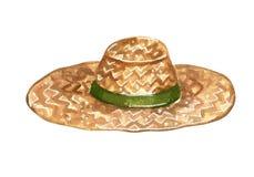 Słomiany kapelusz z zielonym zespołem dla uprawiać ogródek royalty ilustracja