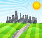 Słoneczna droga w mieście natura wektor ilustracja wektor