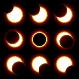 Słonecznego zaćmienia fazy Fotografia Stock