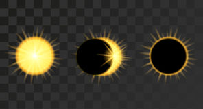 Słonecznego zaćmienia fazy w ciemnym niebie Zdjęcia Royalty Free