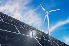 Słoneczni photovoltaic panel i silniki wiatrowi Alternatywna produkcja energii i odnawialny wytwarzania siły pojęcie ilustracja wektor