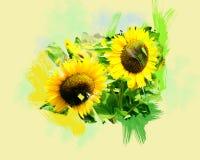 słoneczniki dwa ilustracji