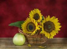 słoneczniki i jabłka Zdjęcia Stock