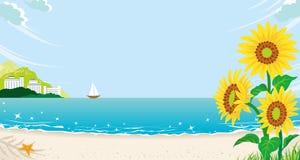 Słoneczniki w lato plaży Obrazy Royalty Free