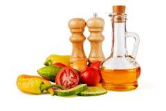 Słonecznikowy nasieniodajny olej i warzywa Zdjęcia Stock