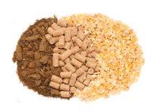 Słonecznikowy posiłku, kukurydzy i otręby tło. Jedzenie dla koni zdjęcie royalty free
