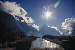 Słoneczny dzień blisko Ecrins parka narodowego Zdjęcie Stock