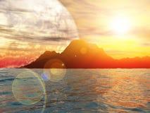 Słoneczny dzień na exoplanet świadczenia 3 d Zdjęcie Stock
