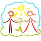 Słoneczny dzień, natura, szczęśliwa rodzina, zdrowie i pogodność, ilustracja wektor