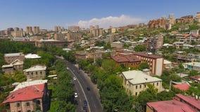 Słoneczny dzień w Yerevan miasteczku, widok z lotu ptaka starzy budynki i ulicy, pejzaż miejski zbiory