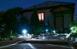 Słoneczny lampionu ogródu światło z krzakami Obraz Stock