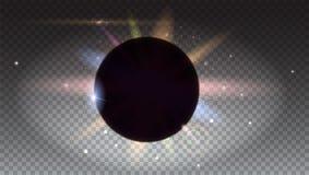 Słoneczny zaćmienie, astronomiczny zjawisko, lekcy promienie i obiektyw, migoczemy tło Gwiazdowy wybuch z Błyska Planeta ilustracja wektor