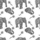 Słonia bezszwowy wzór w azjata stylu Mandala projektuje tło również zwrócić corel ilustracji wektora ilustracja wektor