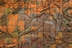 Słonia wzór na świątyni ścianie obrazy royalty free