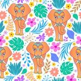 Słonie i tropikalni kwiaty ilustracja wektor