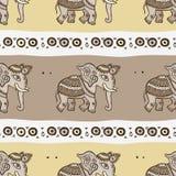 słonie tła bezszwowy etniczny Fotografia Stock