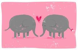 Słonie w miłości Obrazy Royalty Free